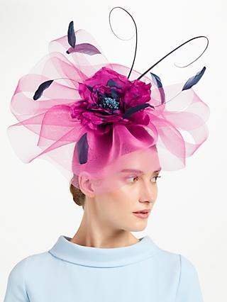 John Lewis Partners Zena Large Crin Fascinator Navy Pink