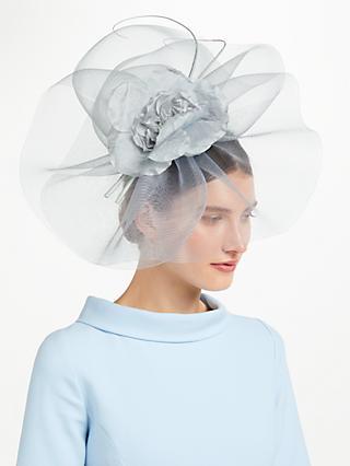 John Lewis Partners Rosie Large Flower Crin Fascinator Silver