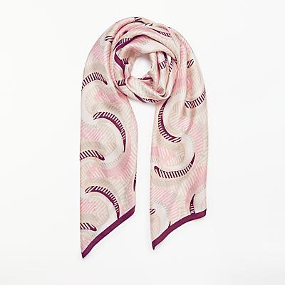 Modern Rarity Circular Stripe Silk Scarf, Pink Mix