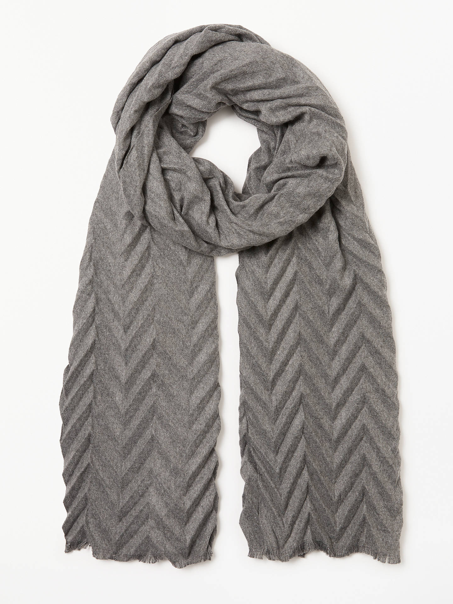 57a457bb1 Buy John Lewis & Partners Zig Zag Pleated Scarf, Grey Online at johnlewis.  ...