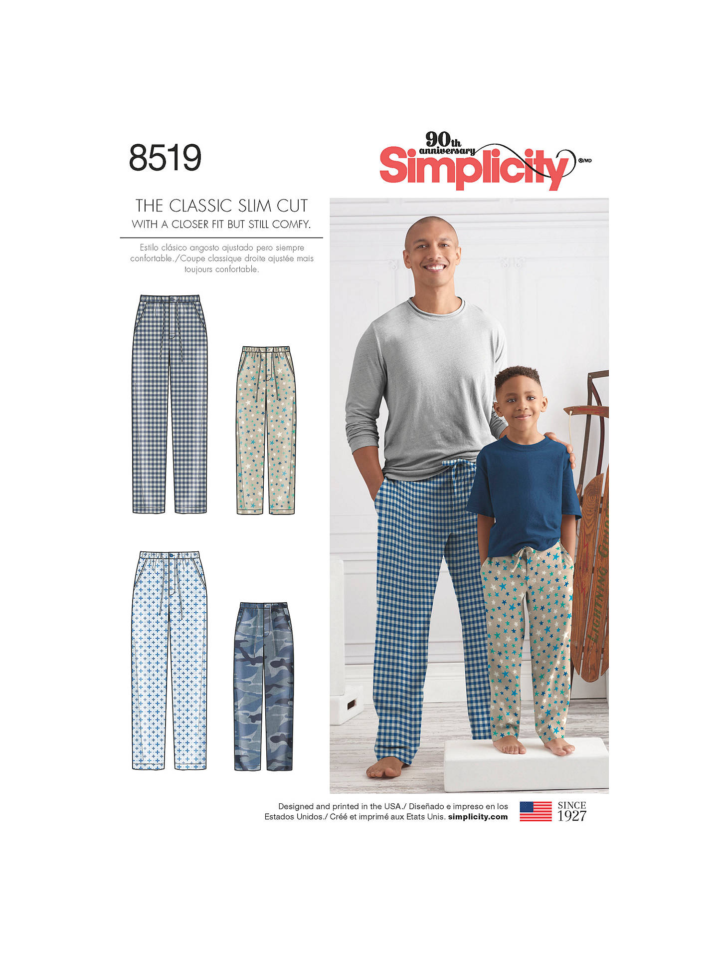 cd6491648d BuySimplicity Children and Men s Slim Fit Lounge Trousers Sewing Pattern