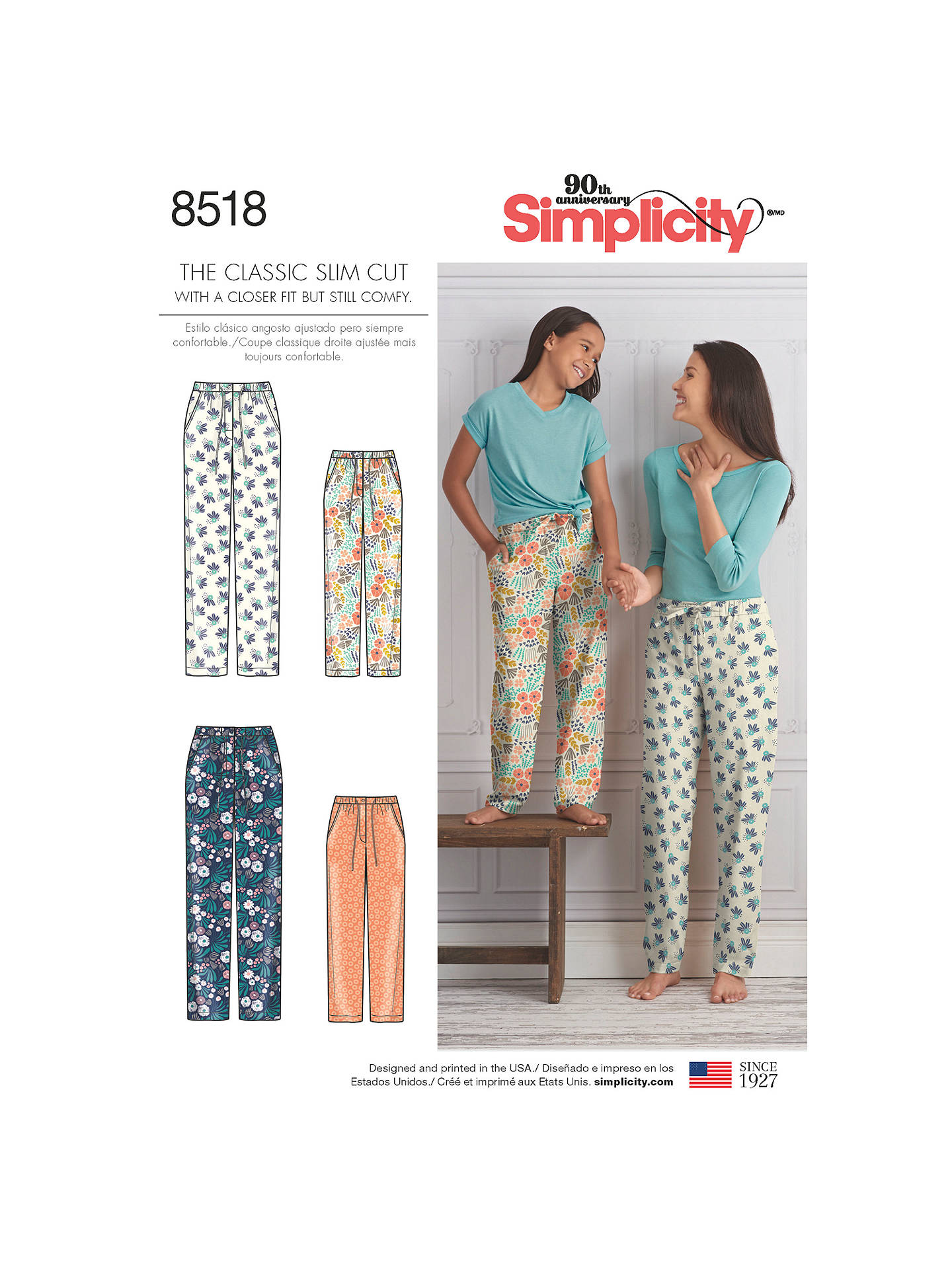 dada1e3362 BuySimplicity Children and Women s Slim Fit Lounge Trousers Sewing Pattern