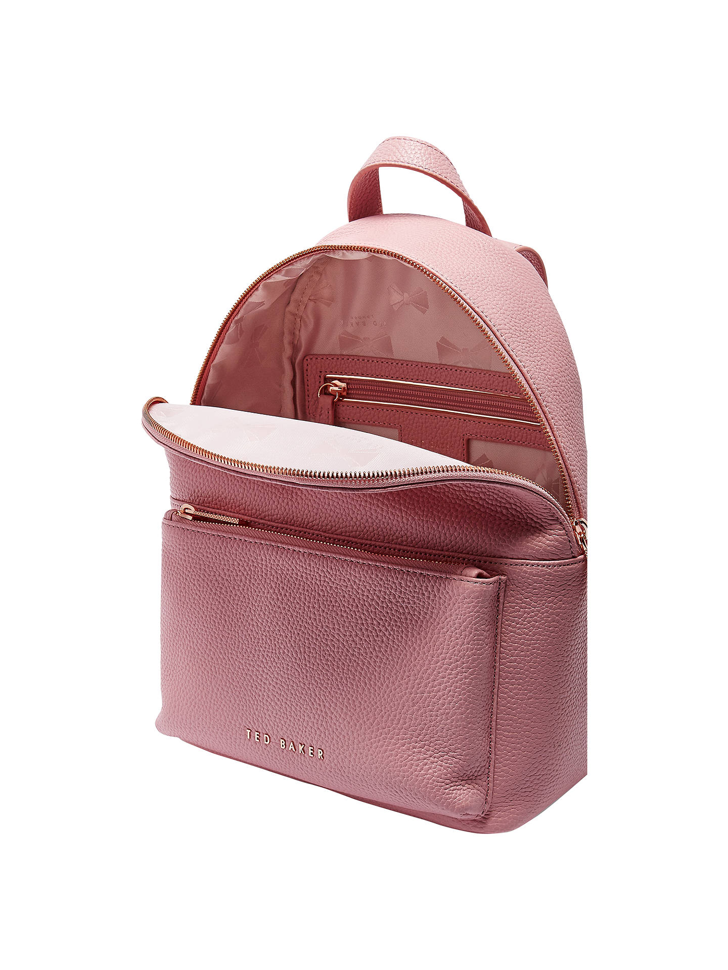 2fb2bc04b ... Buy Ted Baker Pearen Leather Backpack, Dusky Pink Online at  johnlewis.com ...