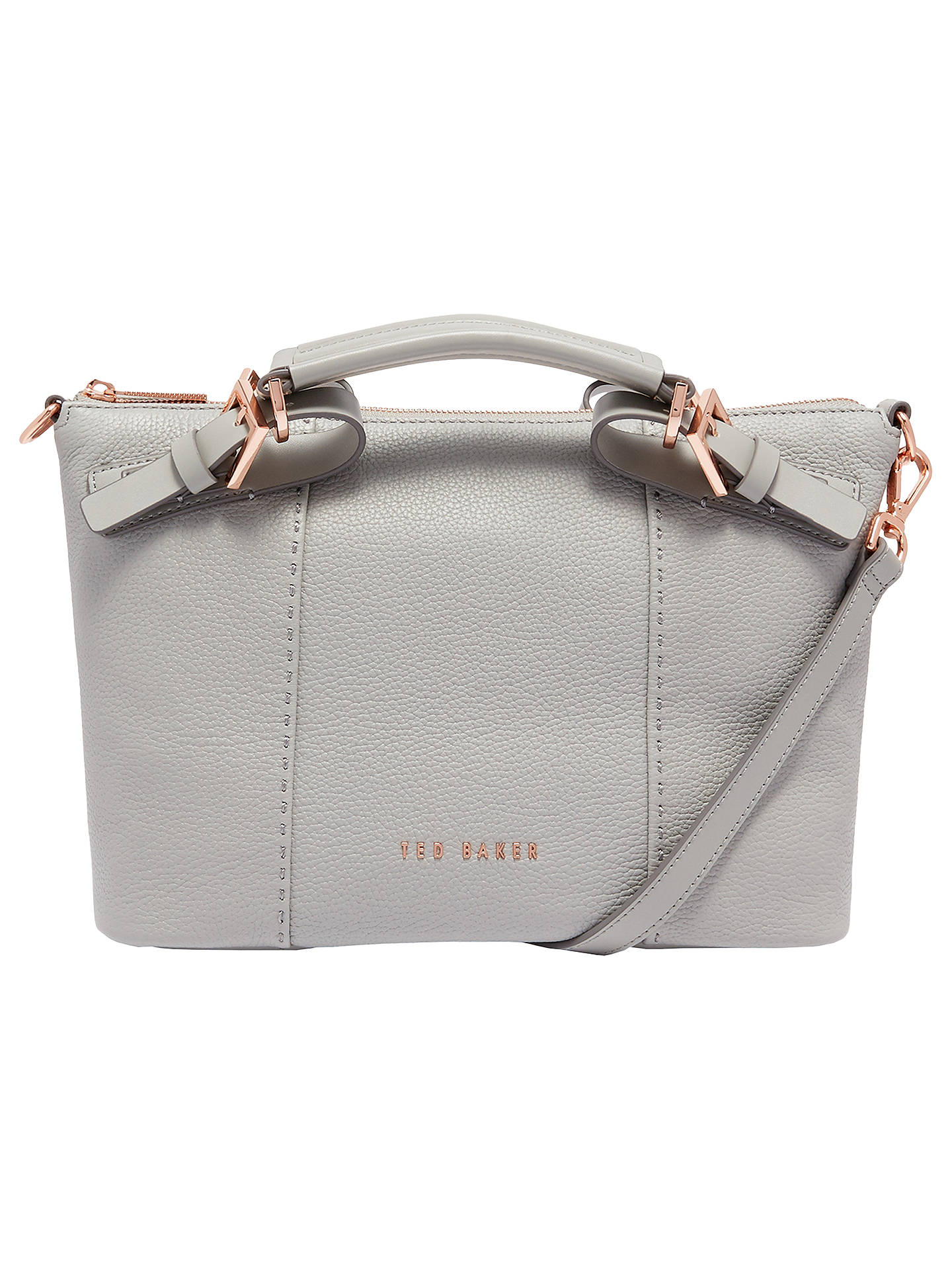 Ted Baker Salbett Pop Hand Leather Small Tote Bag Mid Grey Online At Johnlewis