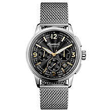 Buy Ingersoll I00103 Men's The Regent Chronograph Date Bracelet Strap Watch, Silver/Black Online at johnlewis.com