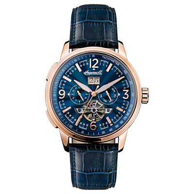 Image of Ingersoll Men's The Regent Automatic Chronograph Date Heartbeat Leather Strap Watch