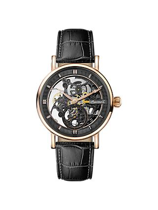 Ingersoll Men's The Herald Skeleton Automatic Leather Strap Watch