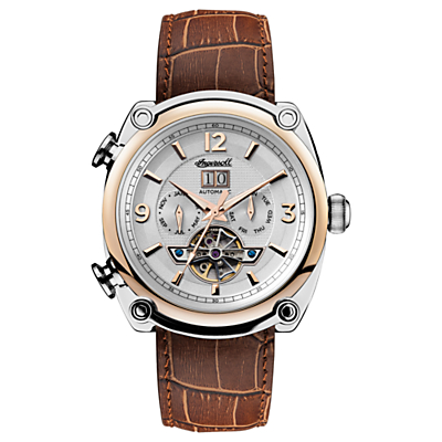 Image of Ingersoll Men's The Michigan Automatic Chronograph Date Heartbeat Leather Strap Watch