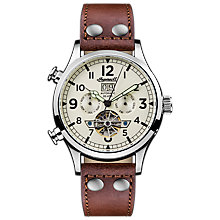 Buy Ingersoll Men's The Armstrong Automatic Chronograph Day Date Leather Strap Watch Online at johnlewis.com
