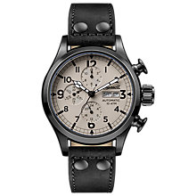 Buy Ingersoll I02202 Men's The Armstrong Automatic Chronograph Day Date Leather Strap Watch, Black/Cream Online at johnlewis.com