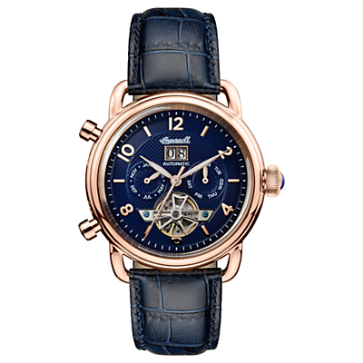 Image of Ingersoll Men's The New England Automatic Chronograph Date Heartbeat Leather Strap Watch