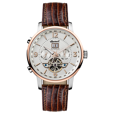 Image of Ingersoll I00701 Men's The Grafton Automatic Chronograph Date Heartbeat Leather Strap Watch, Brown/White
