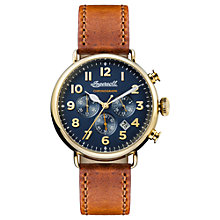 Buy Ingersoll I03501 Men's The Trenton Chronograph Date Leather Strap Watch, Tan/Navy Online at johnlewis.com