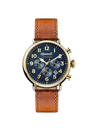 Ingersoll I03501 Men's The Trenton Chronograph Date Leather Strap Watch, Tan/Navy