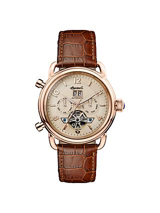 Ingersoll Men's The New England Automatic Chronograph Date Heartbeat Leather Strap Watch, Brown/Rose Gold I00901