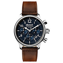 Buy Ingersoll I03803 Men's The Apsley Chronograph Date Leather Strap Watch, Dark Brown/Navy Online at johnlewis.com