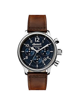 Ingersoll Men's The Apsley Chronograph Date Leather Strap Watch, Dark Brown/Navy I03803