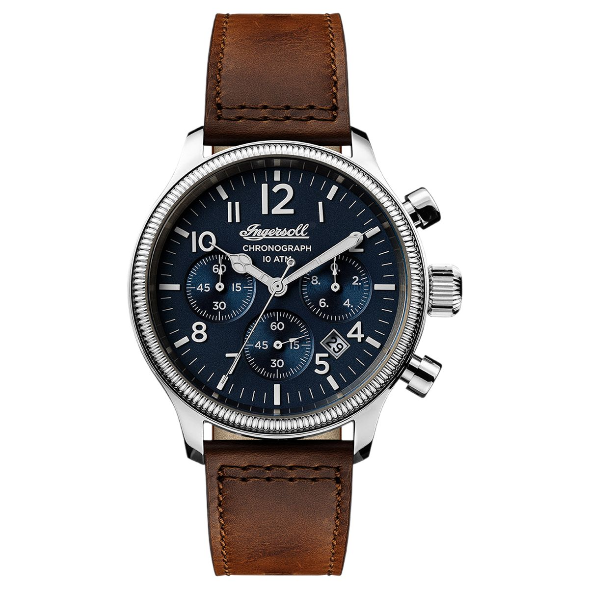 Ingersoll Ingersoll Men's The Apsley Chronograph Date Leather Strap Watch, Dark Brown/Navy I03803