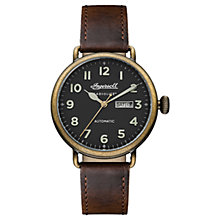 Buy Ingersoll Men's The Trenton Radiolite Automatic Day Date Leather Strap Watch Online at johnlewis.com