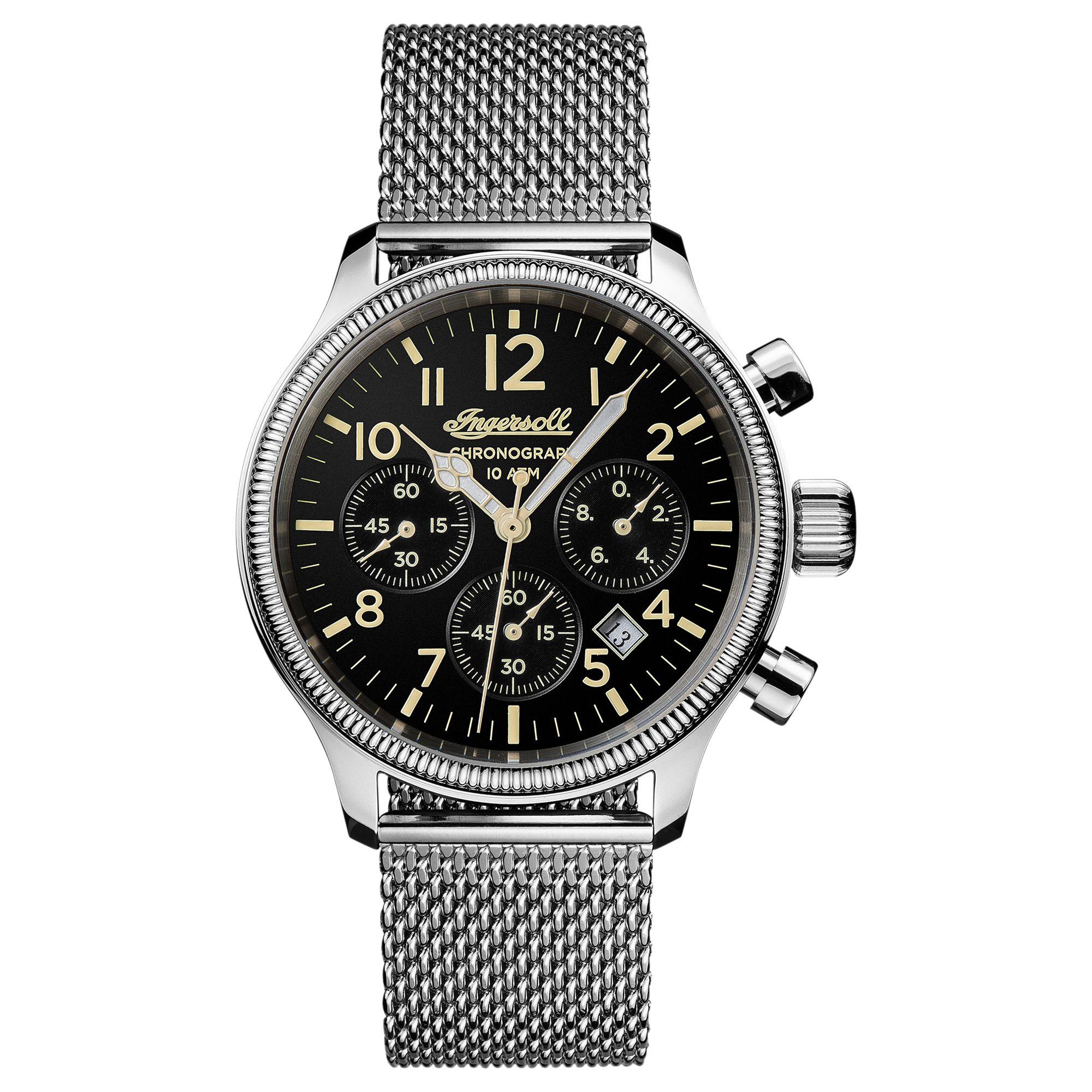 Ingersoll Ingersoll I02901 Men's The Apsley Chronograph Date Bracelet Strap Watch, Silver/Black