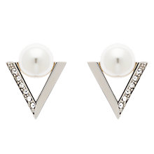 Buy Finesse Swarovski Crystal and Faux Pearl Deco V Stud Earrings, Silver Online at johnlewis.com