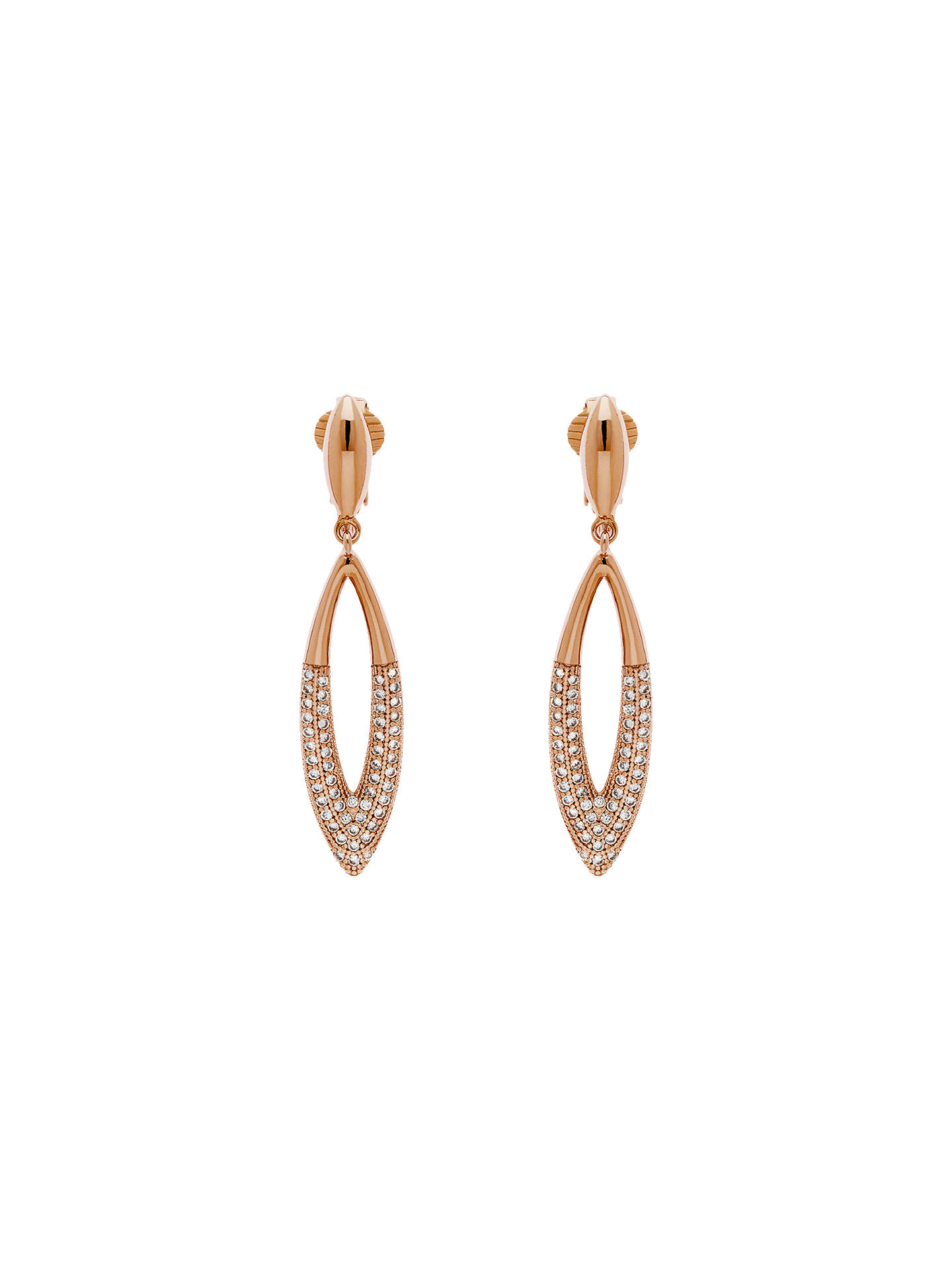 BuyFinesse Glass Cry Navette Drop Clip-On Earrings, Rose Gold Online at johnlewis.com