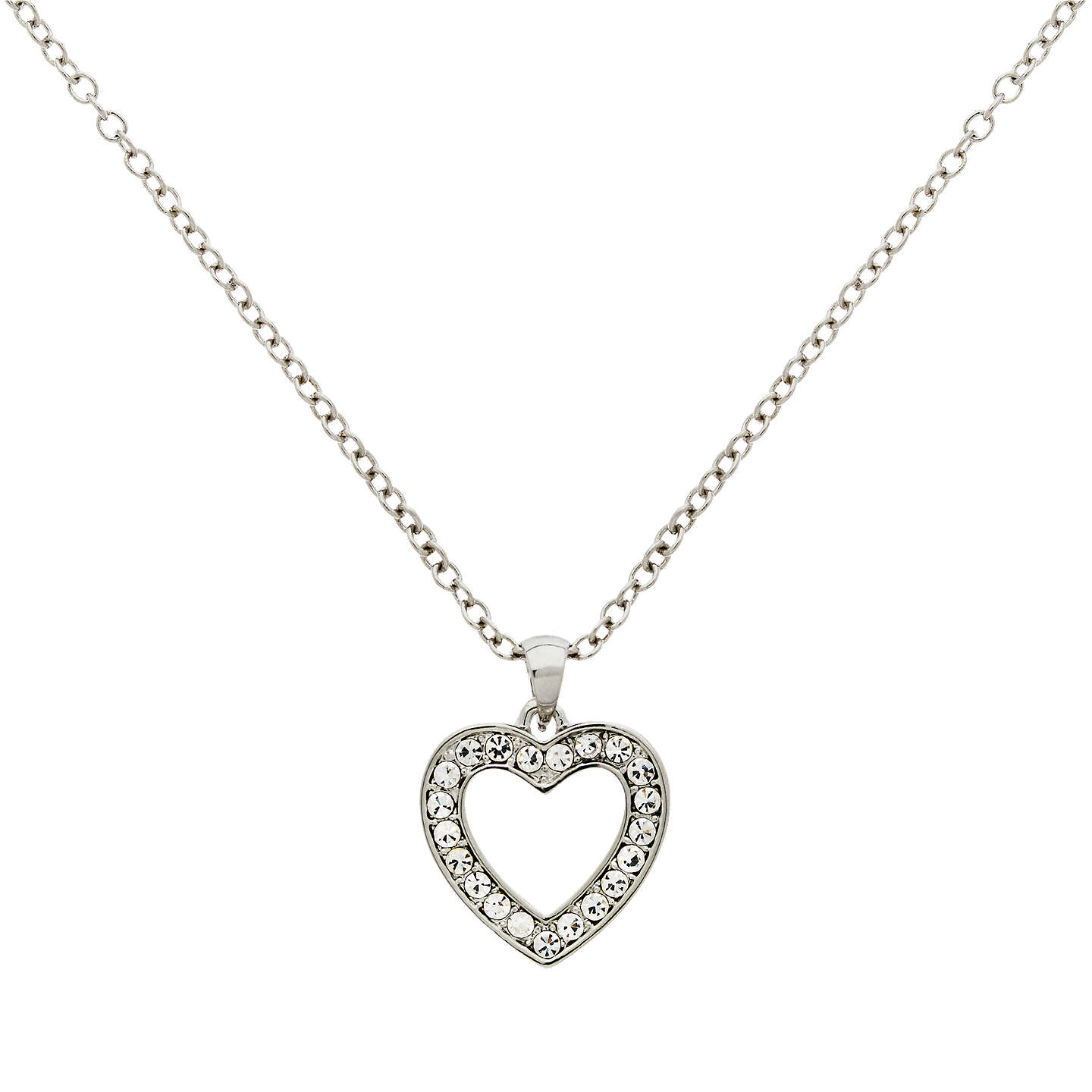 Finesse glass crystal open heart pendant necklace silver at john lewis buyfinesse glass crystal open heart pendant necklace silver online at johnlewis aloadofball Images