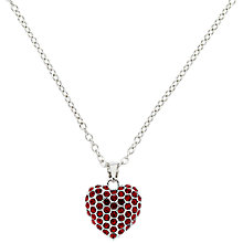 Buy Finesse Glass Crystal Pave Heart Pendant Necklace Online at johnlewis.com
