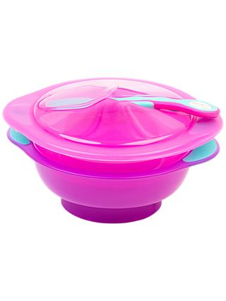 Vital Baby Unbelievabowl Travel Suction Bowl, Pack of 2, Lid and Spoon, Pink/Purple