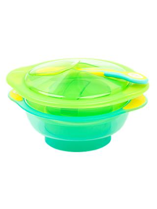 Vital Baby Unbelievabowl Travel Suction Bowl, Pack of 2, Lid and Spoon, Green/Turquoise