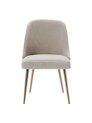 West Elm Mid Century Velvet Dining Chair Dove Grey