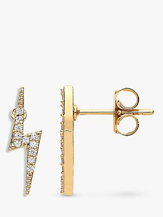 Estella Bartlett Bolt Cubic Zirconia Stud Earrings, Gold