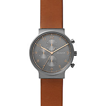 Buy Skagen SKW6418 Men's Ancher Leather Strap Watch, Brown/Grey Online at johnlewis.com