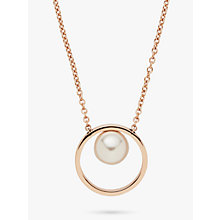 Buy Skagen Agnethe Freshwater Pearl Circle Pendant Necklace, Rose Gold SKJ0996791 Online at johnlewis.com