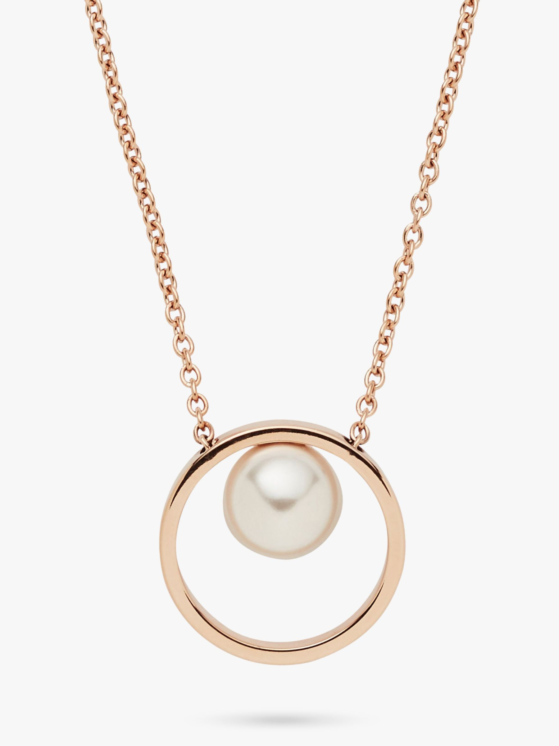skagen Skagen Agnethe Faux Pearl Circle Pendant Necklace, Rose Gold SKJ0996791