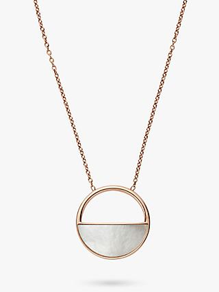 Skagen Elin Circular Pendant Necklace, Rose Gold SKJ0997791