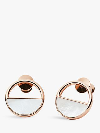 Skagen Elin Circular Stud Earrings, Rose Gold SKJ0998791