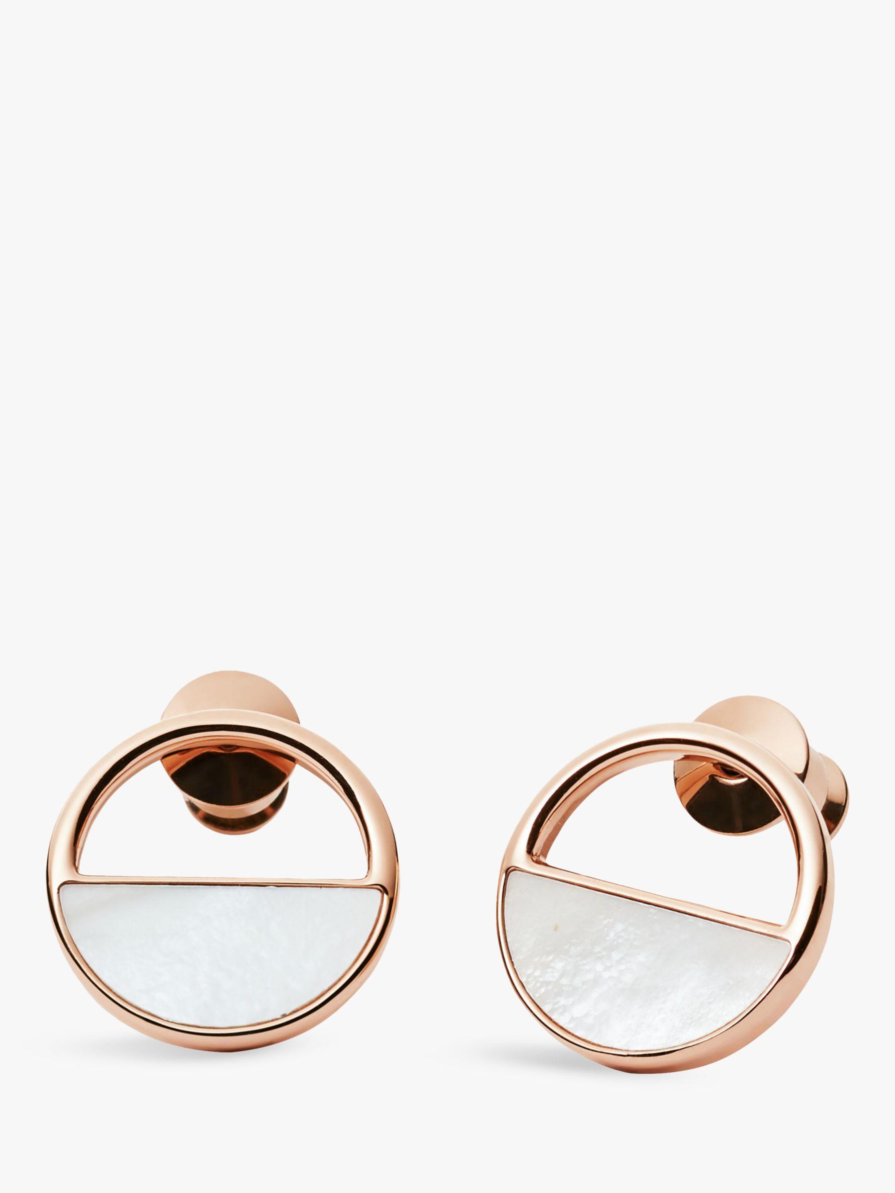 skagen Skagen Elin Circular Stud Earrings, Rose Gold SKJ0998791
