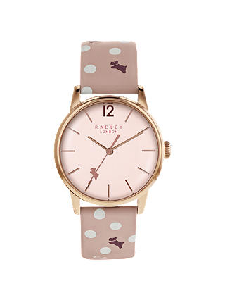 Buy Radley RY2568 Women's Vintage Dog Dot Leather Strap Watch, Blush Online at johnlewis.com