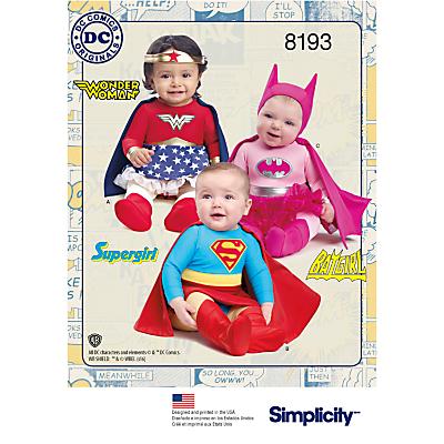 Image of Simplicity Baby D.C Comics Superhero Costumes Sewing Pattern, 8193