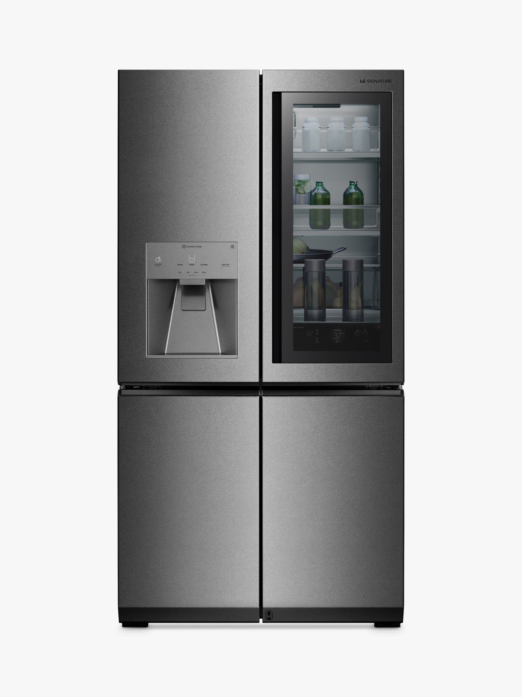 LG LG SIGNATURE LSR100 American Style Plumbed Freestanding Fridge Freezer, A++ Energy Rating, 91cm Wide, Noble Steel