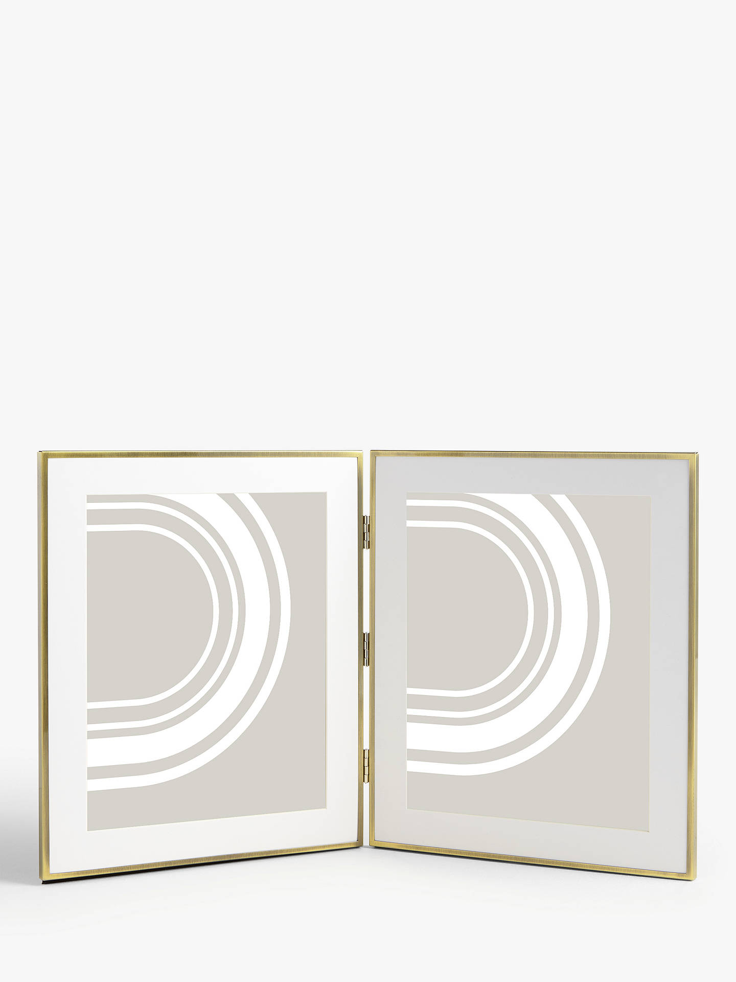 John Lewis & Partners Daya Double Photo Frame & Mount, Brushed Brass by John Lewis & Partners