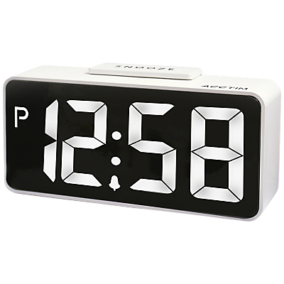 Acctim Talos USB Smart Connector® LED Digital Alarm Clock, White