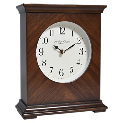 Image of London Clock Company Flat Top Mantel Wood Finish Clock, Dia.21cm