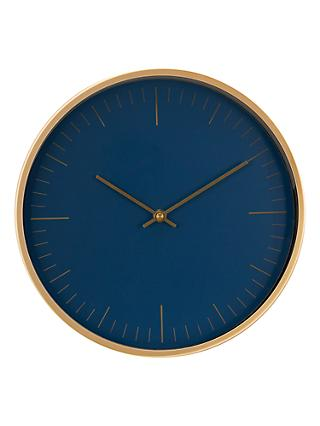 House by John Lewis Wall Clock, Navy/Brass, 30cm