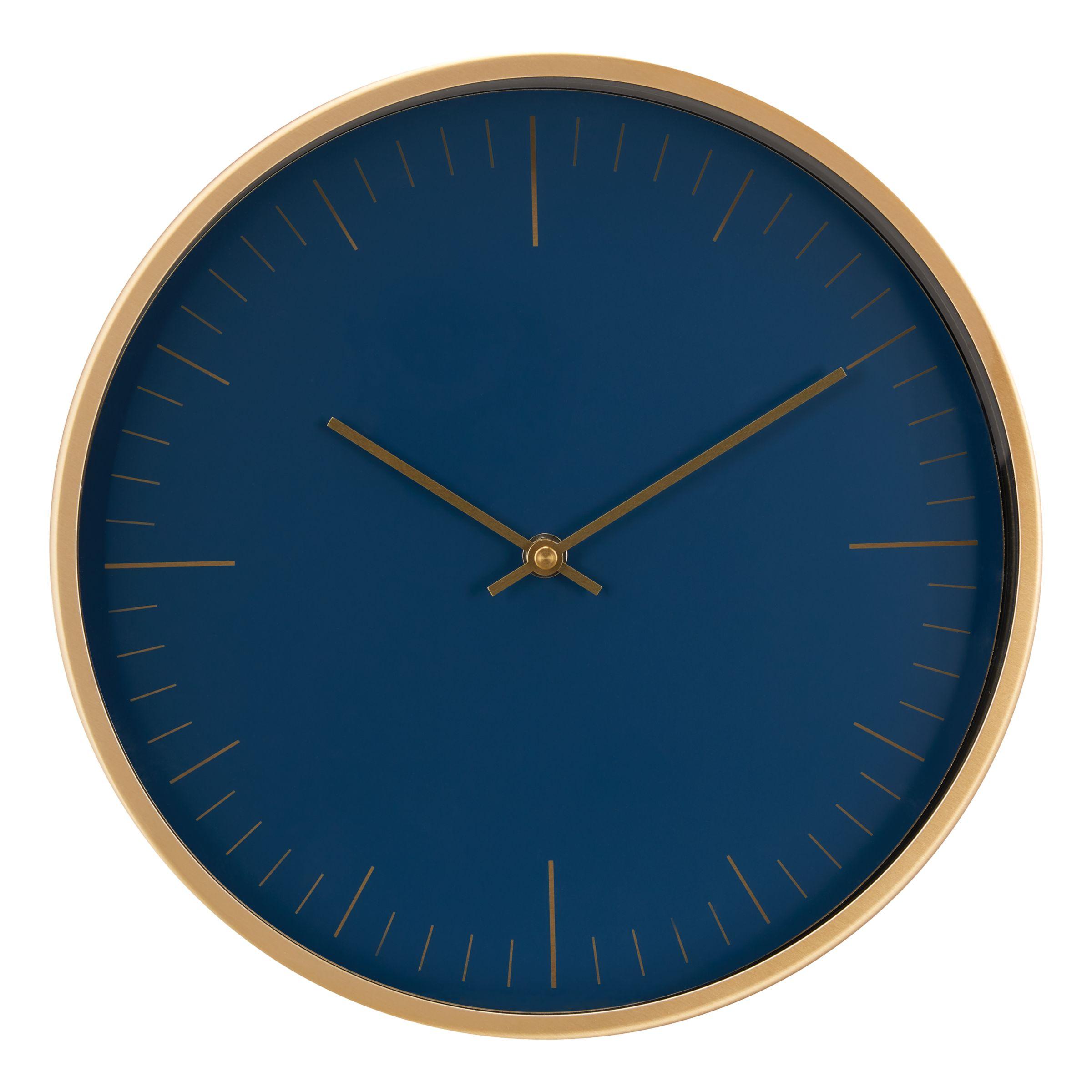 John Lewis & Partners Wall Clock, Navy/Brass, 30cm