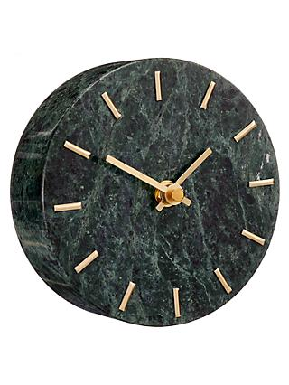 John Lewis & Partners Jordan Marble Analogue Mantel Clock, Green/Brass, Dia.14cm