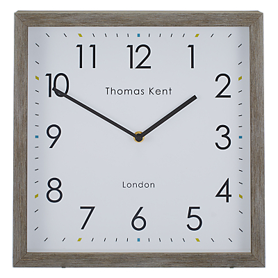 Thomas Kent Smithfield Square Wood Finish Clock, 30cm, Grey