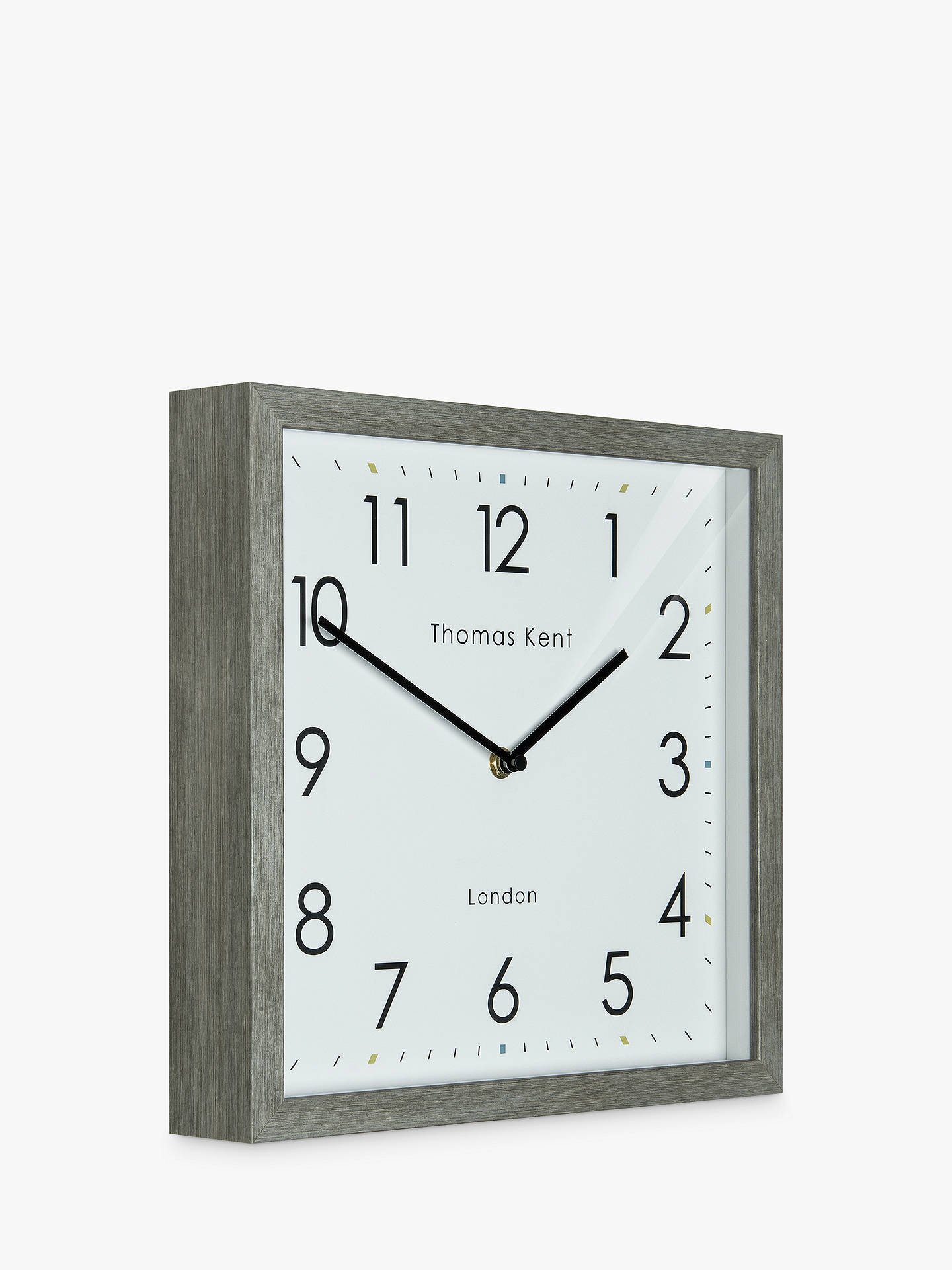 BuyThomas Kent Smithfield Square Wood Finish Clock, 30cm, Grey Online at johnlewis.com