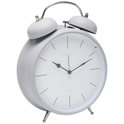 Image of London Clock Company Twin Bell Alarm Clock, Matte Grey